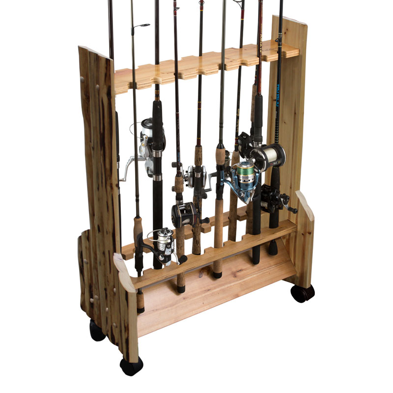 16 fishing rod double sided rolling rack rush creek for Fishing rod rack