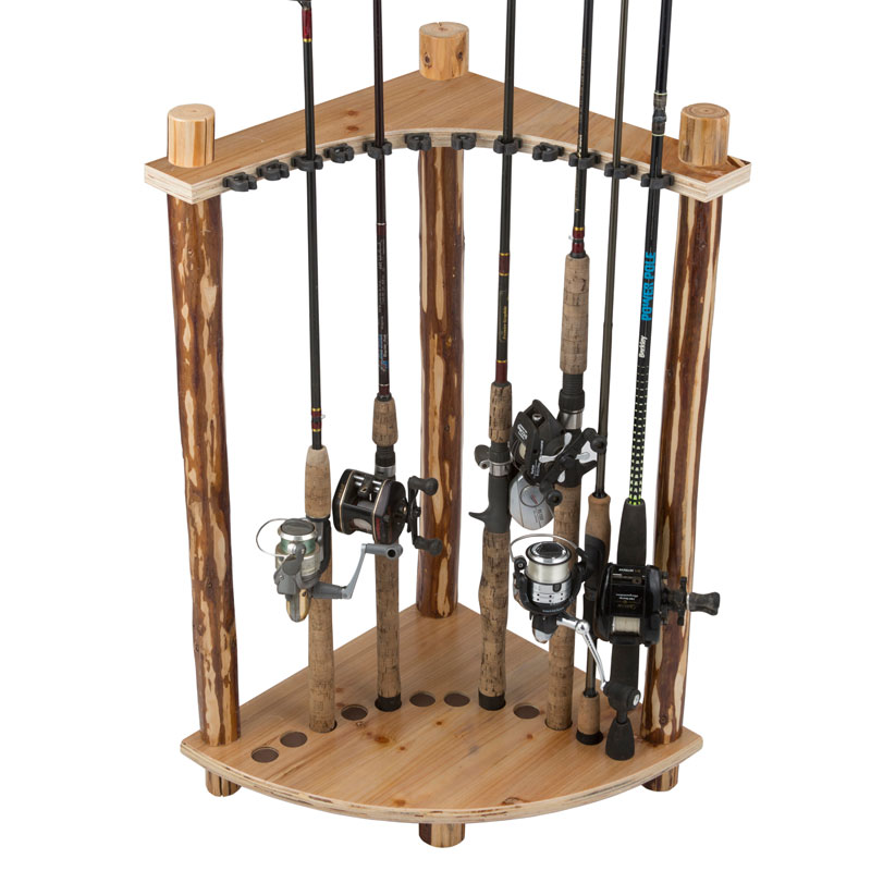 12 fishing rod corner rack rush creek creations for Fishing rod rack